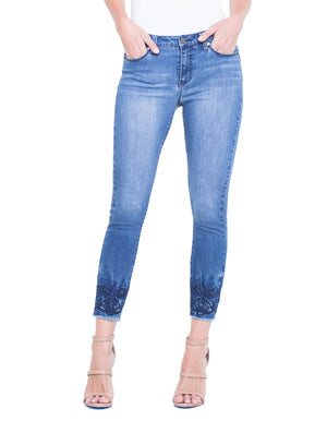 Alec Crop Raw Cut Embroidered Hem Jeans