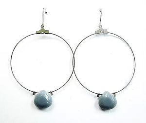 Silver Wire Hoop With Blue Tear Drop Stone Earrings