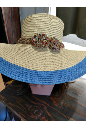 Large Brim Hat with Braided Trim Accent