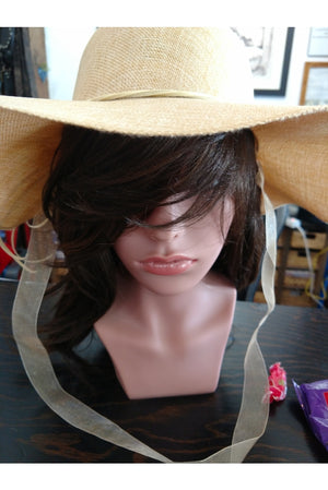 Large Brim Hat with Neck Tie & Flower Accent