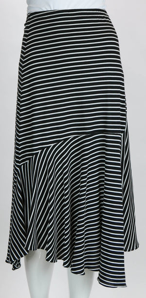 Carole Wang Bamboo Rayon Striped Ruffle Skirt
