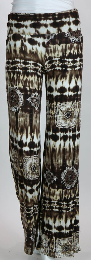 Palazzo Pants Brown & White Geometric Design