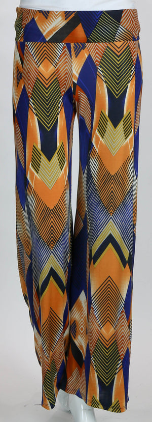 Palazzo Pants Blue & Gold Geometric Design