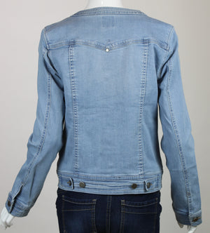 LiverPool Collarless Denim Light Weight Jacket Belmont Blue