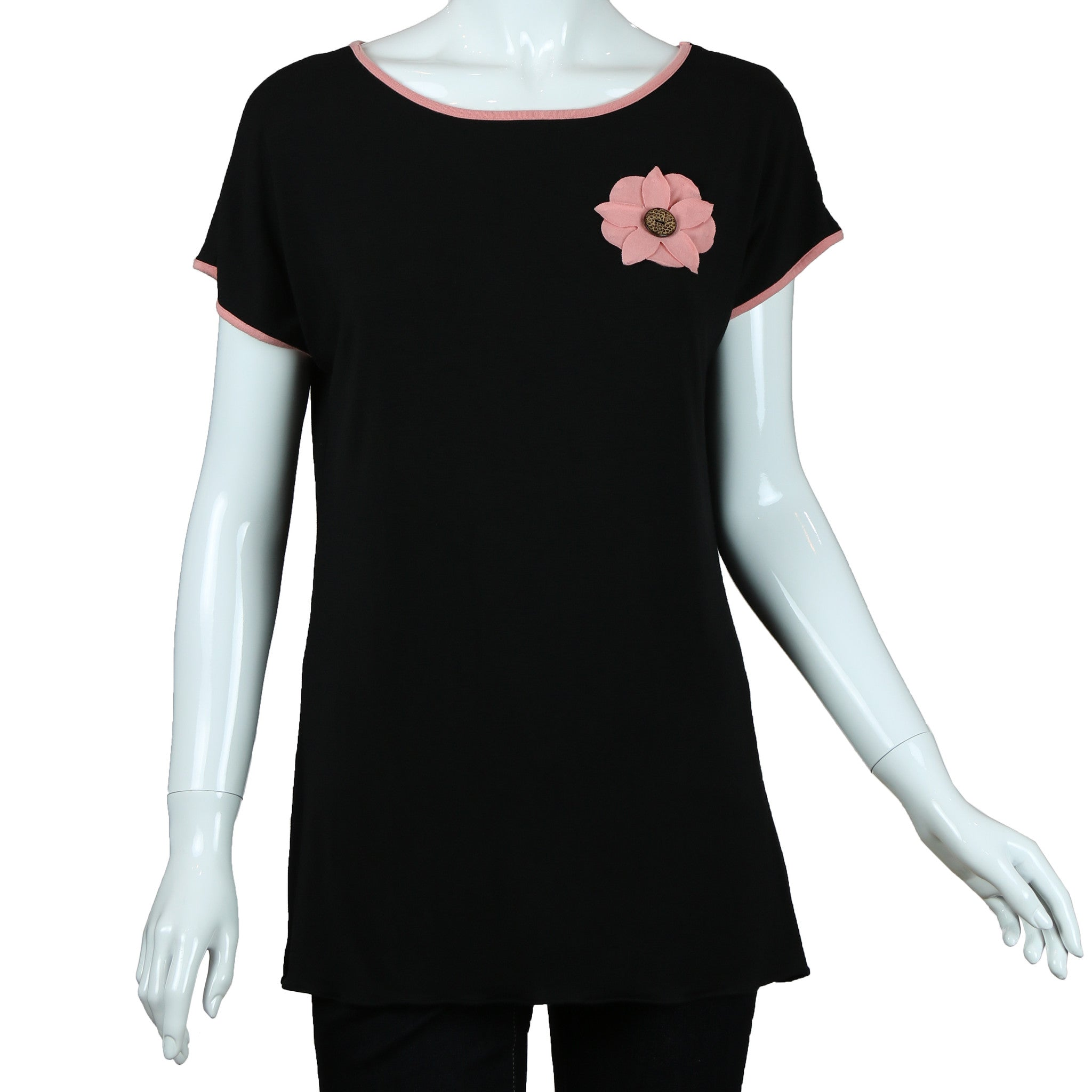 Cap Sleeve Top With Flower By Carole Wang Trendsetter Boutique