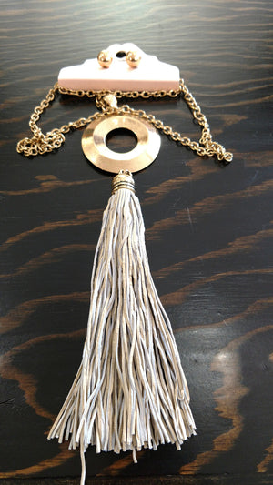 Circle Tassel Necklace With Earrings
