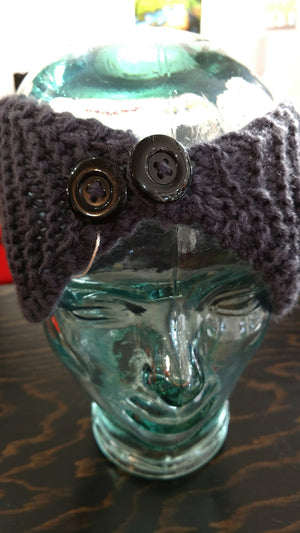 Knitted Head Band With Buttons
