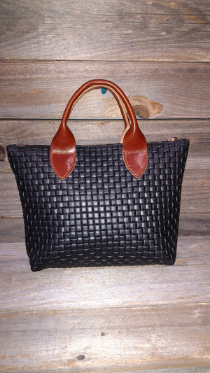 Noir Mini Leather Tote Bag With Brown Leather Handles