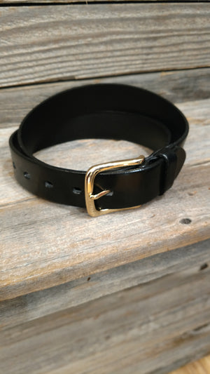 Bovine Leather Belt with Square Gold Buckle