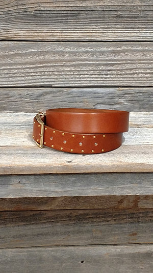 Women Double Gold Loop Square Buckle Studded Leather Belt by Landes
