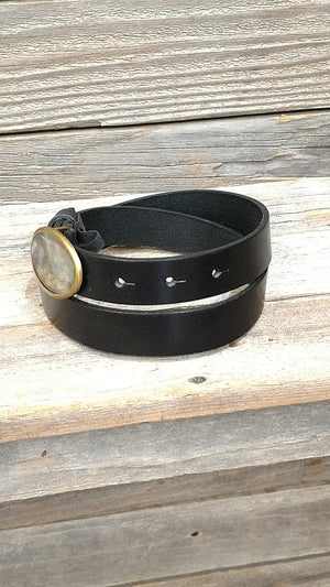 Women's Fashion Black Leather belt with Brass Buckle by Belt Shak