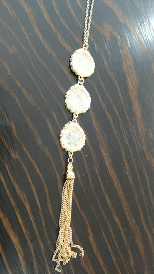 Assorted 3 Crystal Teardrop Pendant Gold Chain Necklace With Tassel