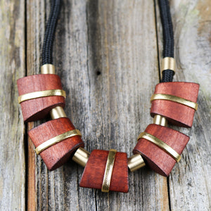 Chunky Bohemian Wooden Necklace with Rope Chain