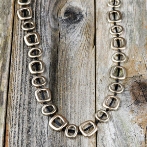 Circle & Square Link Gold Necklace