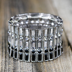 Black & White Rhinestone Stretch Bracelet