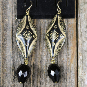 Large Black and Gold Earring with Black Bead Accent by Salt