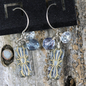Blue Beaded Double Accent Beaded Earrings by Wild Iris