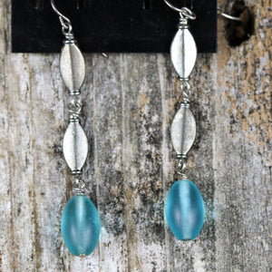 Assorted Silver Drop Earrings With Color Beads by Salt