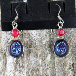 Blue Druzy Quartz Tear Drop Earrings
