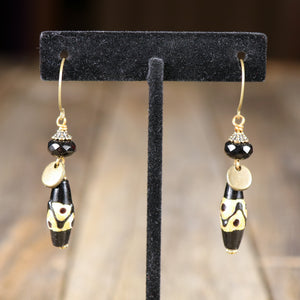 Small Black and Gold Earring with Black Bead  & Tassel Accent by Salt