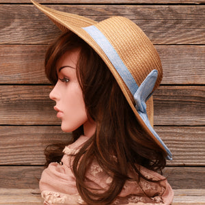 Powder Blue Bow Floppy Beach Sun Hat