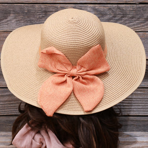 Orange Bow Floppy Beach Sun Hat