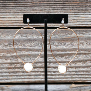 Coin Pearl Gold Hoop Fish Hook Earrings