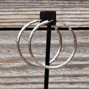 Round Bevelled Dangle Hoop Earrings In Silver