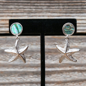 Abalone & Silver Star Fish Drop Earrings by Samoe