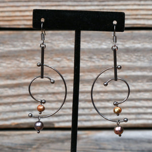 Multi Color Pearl & Hematite Dangle Fish Hook Earrings