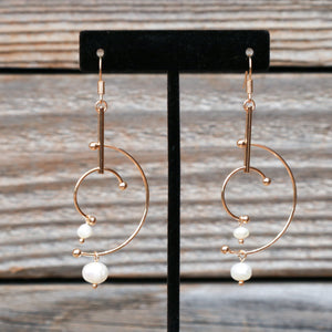 Geometric Gold & Pearl Dangle Fish Hook Earrings