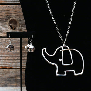 "18"" Silver Elephant Fashion Jewlery Necklace with Stone accent & Earrings"