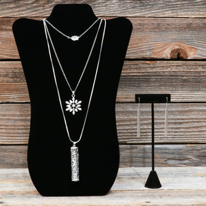 "18"" Silver Multistrand Necklace With Earrings"