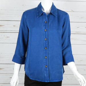3/4 Sleeve Collared Button Down Top Fall by Pulp