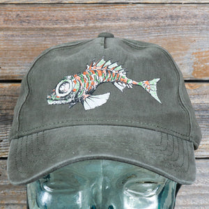 """Fish"" Garment-Washed Cotton Cap by Redwood Tees"