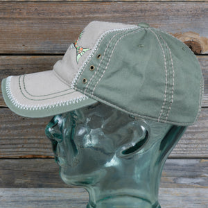 """Fish"" Garment-Washed Cotton Cap With Contrast Stitching And Grommets"