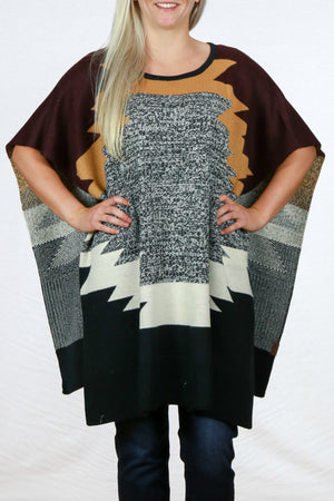 Color Block Knit Poncho