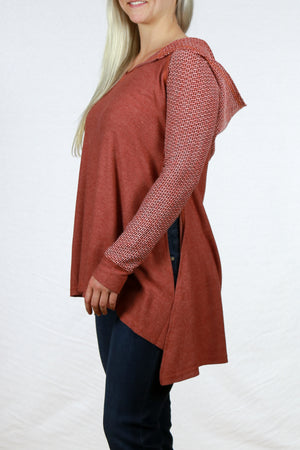 Flare Bottom Contrast Sleeve Hoodie Sweater By Mystree