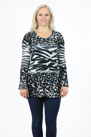 Animal Print Tie Dye Hooded Top