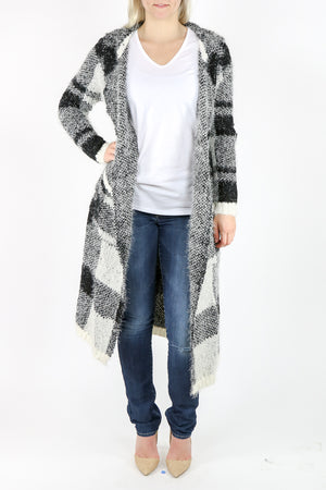 Long Hooded Mohair Cardigan