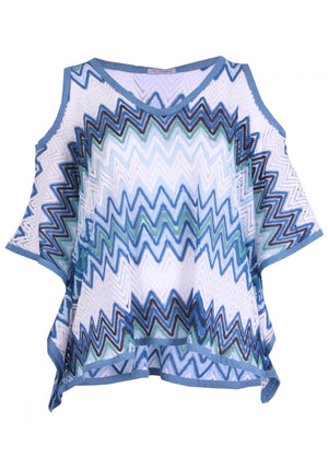 One Size 3/4 Sleeve Cold Shoulder Poncho Plus Size In Blue & White