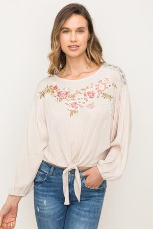 Embroidered Front Tie Blouse