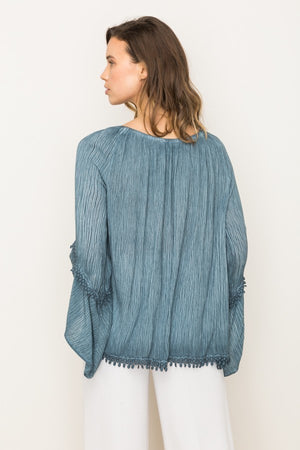 Lace Trimmed Peasant Top