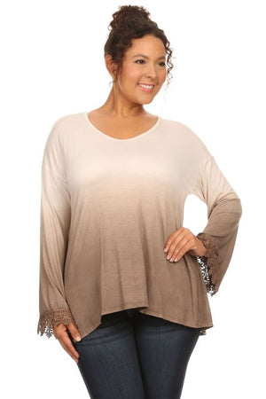Plus Size T-Party Ombre Lace Detail Sleeve Top