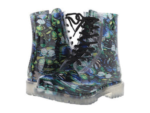 "Dirty Laundry ""Roadie"" Blue Butterfly Rain Boot"