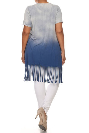 Plus Size T-Party Ombre Curved Hem Fringe Top
