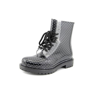 "Dirty Laundry ""Roadie"" Black & White Polka Dot Rain Boot"