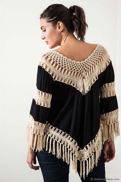 c4cf18819fe Plus Size Fringe Boho V-Neck 3 4 Sleeve Crochet Tunic Top
