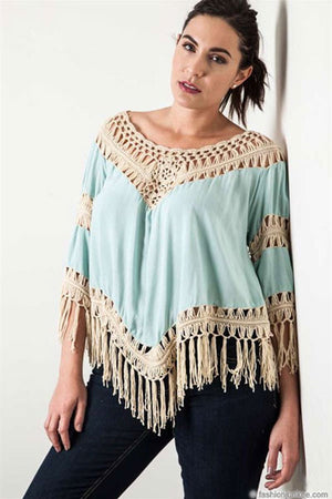 Plus Size Fringe Boho V-Neck 3/4 Sleeve Crochet Tunic Top