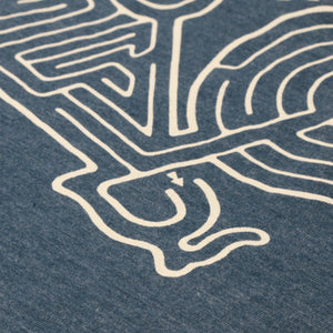 "Redwood Tees ""Bike Maze"" Men's T-Shirt // Ringspun Cotton - Polyester Blend // Navy Heather"